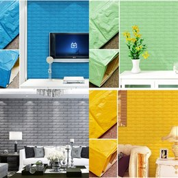 Wholesale Decorating Decals Stickers - DIY Self Adhesive Foam 3D Walls Sticker Waterproof Living Room Bedroom Decorate Wall Stickers Hot Sale 8 5as C