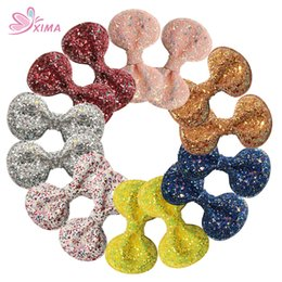 XIMA 14pcs lot 2.8''Girls Gift Hair Clip Glitter Powder Leather Hair Bows for Kids Teens Hair Accessories Coupons