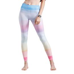 3e25926fb4fd2 2018 New Fashion Women Leggings Colorful Gradient Rainbow Print High Waist  Casual Skinny Pants Blueew