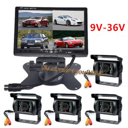 Wholesale Lcd Video Monitor Kit - 7 inch TFT LCD 4CH Video Quad Split Car Monitor + 4 x 18 IR LED reverse Camera 24V Rear view Kit For Truck Bus Caravan