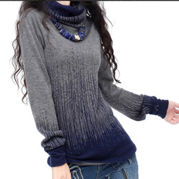 Wholesale Vintage Cashmere Sweater Women - Women's Gradient Black Blue Vintage Knitted Cashmere Sweater Women Winter Turtleneck Thick Sweaters And Pullovers Female Tops