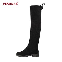 Wholesale knee high toe socks women - VESONAL Brand Winter Long Over The Knee High Boots Shoes Stockings Women Boots Fashion Woman High Sock Snow Female VE1918