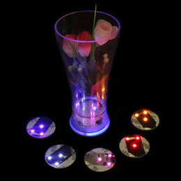 Wholesale flash brightness - LED Light Bottle Sticker Round Waterproof Flash Coasters Mat Paster High Brightness Ultra Thin Cup Stickers Party Gift GGA370 150PCS