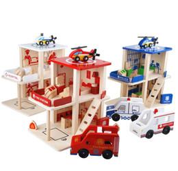 Gioco di ruolo Police Fire Station Playset Blocchi di assiemi in legno - Perfetto regalo di compleanno per bambini da