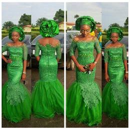 vestidos de quinceañera Desconto Meia Mangas de Renda Apliques Sereia 2019 Vestidos de Baile de Varredura Magro Evening Vestidos de Festa Verde Frisado Varredura Vestidos De Festa