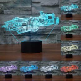 Wholesale Led F1 - Acrylic 3D light LED Lamp F1 racing car Shape luminaria Lampe USB table desk 3d Led Night Light Friends & Holiday Gifts IY803808