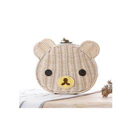 Wholesale Crocheted Bear - New Fashion Bag 2018 Cute Cartoon Bear Crochet Straw Crossbody Bags for Women Summer Beach Handmade Rattan Woven Shoulder Bag Messenger Bag
