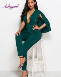 cfad7ec79c49 Solid Color With Cloak Jumpsuit Woman Deep V Neck Double Button Long Romper  Skinny Leg Pants playsuit Plus Size 3XL