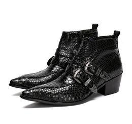 Botas de vaquero para hombre invierno online-Punk Dress Boots Snake Hombres Botines de cuero genuino Mens Military Cowboy Boots High Top Buckles Party Men Satefy Zapatos de invierno