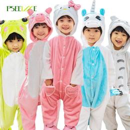 2019 ropa de dormir totoro PSEEWE Cosplay onesie kids Pijamas franela para niños Pikachu Totoro panda unicornio pijamas para niños niña ropa de dormir 4y-12y ropa de dormir totoro baratos
