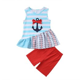 2019 camicia di ancoraggio rossa Maglietta del vestito a strisce dell'ancoraggio dei bambini delle neonate 2018 + pantaloni di bicchierini rossi 2PCS Outfits Clothes Summer Set camicia di ancoraggio rossa economici