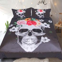 Biancheria da letto rosa nera piena online-3D vivid scheletro nero Suger cranio fiore rosa set di biancheria da letto design USA AU doppia pieno regina re biancheria da letto copripiumino federa