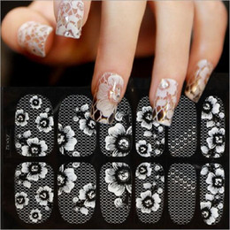 Wholesale foil nail decal stickers - 12 long wear wraps White Lace Serial Transparent Nail Decals Stickers Nail Foils Fake Nail Tips False Decoration No Smudging DIY 50PCS
