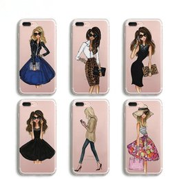 Wholesale wholesale fitted dresses - Fashion Dress Sport Girl Transparent Silicone Phone Cases For iPhone X 8 5 5S SE 6 6S 7 Plus Case Cover Coque