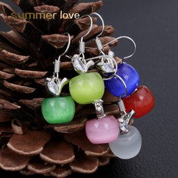 Wholesale lovely fashion jewelry wholesale - 2018 Fashion 6 Colors Newest Lovely Pink Cyan Opal Apple Crystal Earrings For Women Girls Silver Fashion Jewelry Earing Brincos Dropshiping