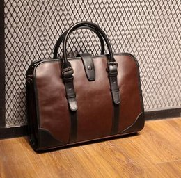Wholesale fashion brand leather stitching man portable shoulder bag retro  crazy horse business man handbag business Korean man handbag d7facbb2d627b