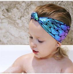 fasce per feste per neonati Sconti Beach Holiday Fasce per bambino Mermaid Scales Knot Hair Head Band Neonata Accessori per capelli belli Commercio all'ingrosso elastico