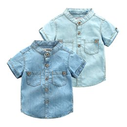 Wholesale Wash Denim Shirt - Boutique washed cotton boys denim shirts soft 90-100-110-120-130-140 6pcs lot