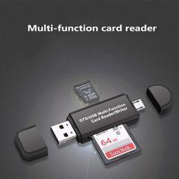 2019 pc tarjeta portátil Lector de tarjetas multifunción multifuncional MINI USB 2.0 OTG Lector de tarjetas micro SD TF para PC, laptop, teléfono móvil, blanco y negro pc tarjeta portátil baratos