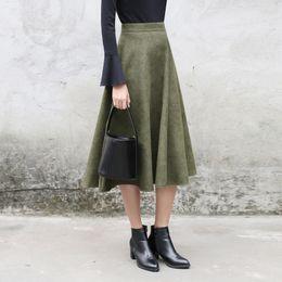 Wholesale High Waist Skirt Korean - Wholesale- Yichaoyiliang 2017 Autumn & Winter High Waist Midi Skirt Korean College Lolita Style A-kine Skirt Mid-Calf Length