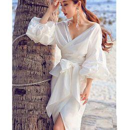 Wholesale black tie neck blouse - Fashion Women White Ruffles Blouse V-neck Ladies Tops Clothing Shirts with Bow Tie Plus Size Female Clothes 1pcs Free Shipping
