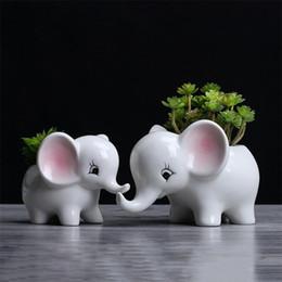 éléphants en céramique en gros Promotion En gros Européenne Creative Artificielle Succulent Pots De Bande Dessinée Éléphant Blanc En Céramique Fleur Pots De Bureau En Pot Jardinage Home Decor