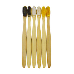 Wholesale natural toothbrushes - Natural Wooden Handle Toothbrush Environment Bamboo Charcoal Tooth Brushes Double Ultra Soft Black Heads Oral Cleaning
