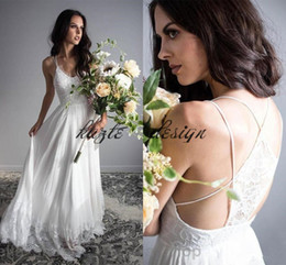 Wholesale Cowl Neck Beach Wedding Dresses - Cheap Sexy Beach Lace Wedding Dresses 2018 Bohemian V-Neck Backless Chiffon A-Line Long Bridal Gowns Spaghetti Straps Boho Vestido De Noiva