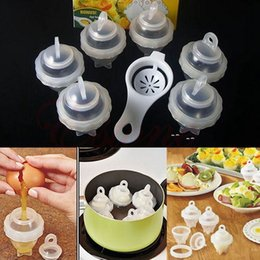 Wholesale red kitchen tools set - 6 Hard Boiled Egg Cooker Mould Set Plus Egg Separator Silicone Kitchen Tool Baking Steamer Boiler Seperator Egg Tools AAA175