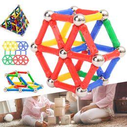 Wholesale toy magnets building - 103pcs Magnet Bar & Metal ball Building Blocks toy Set Kids Children Educational Toy Gift Kids Children Gifts 3D Magnetic toy FFA182