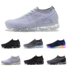 Wholesale Tpu Sports Shoes - High quality 2018 Air Men Women Running Shoes Cushion Surface Breathable Sports shoes Vapormax 2 TPU Sneakers size 5.5-11 Free shipping
