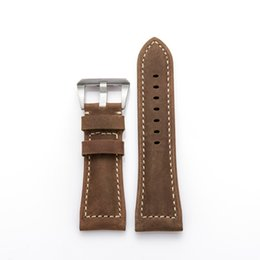 Wholesale Strap For Panerai - Genuine Leather Watchbands Men Italy Watch Band Strap for Panerai Belt Stainless Steel Buckle 22mm 24mm 26mm relogio