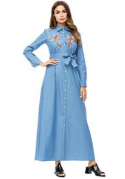 a40e14183b 2018Autumn Women's Middle east Muslims Button Embroidered denim dress  Elegant embroidering shirt Long dress Women's Plus Size Cowboy dress
