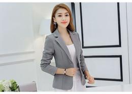 Damen marineblau jacke online-Neuer, langärmeliger, schlanker Damen-Blazer und -Jacken Kleiner Damenanzug Koreanische Version (Grau / Weinrot / Marineblau) Damen-Blazer