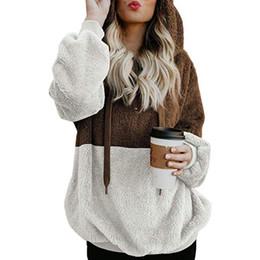 Para mujer de invierno de gran tamaño espesar caliente de manga larga sudaderas con capucha con cordón mullido Faux Fleece sudadera abrigo de la capa Tops desde fabricantes