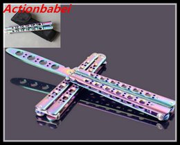 Wholesale Toy Knives - Actionbabei New Colorful Rainbow Practice Knife toy BALISONG METAL BUTTERFLY Steel Trainer Training Knife Sports Dull toy