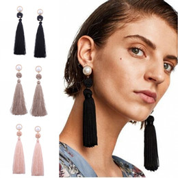 big drop pearl earrings Coupons - Fashion Big Ball Rope Knotted Long Fringed Earrings Vintage Women Pearl Pendant Boho Weave Tassel Drop Shoulder Duster Dangle Jewelry H161R