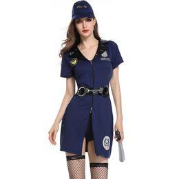 Uniforme de latex azul online-Disfraz de Halloween Azul para mujer Uniforme Ropa sexy Sombrero Oficial Cosplay para mujer