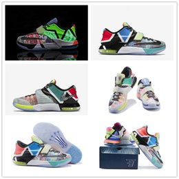 Wholesale Kevin Durant Shoes Colors - 2017 Hot Sale What the KD 7 Men's Basketball Shoes for High quality Kevin Durant 7s Multi Colors Fashion Casual Sports Sneakers Size 40-46