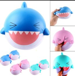 Wholesale Big Huge Cute - 15CM Squishy Huge big shark Squeeze Squishy Slow Rising Jumbo cute squishy shark Slow Rising Squeeze funny Toys Collection kid gift KKA3894