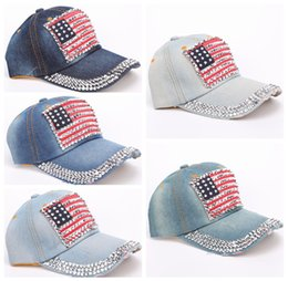 Wholesale Rhinestone Cowboy - Fashion Baseball Cap Women Men American Flag Rhinestone Jeans Denim Baseball Adjustable Bling Snapback Hat Cap DDA478