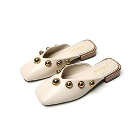 Wholesale Ladies Wedding Slipper Shoes - NEW summer Brand Princetown Women Slippers Luxury Designer Fashion Genuine Leather Loafers Shoes Metal Chain Ladies Casual Mules Flats 38-42