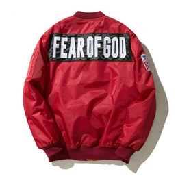 Wholesale Air Collars - 1987 fear of God Ma1 bomber Trench jacket men high quality fog industries Alfa coat pilot of air force flight fear of God Trench 2018