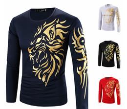 2019 diseños de camisetas de león Camiseta de manga larga de hombre Camiseta de impresión de cabeza de león de oro Camiseta de hombre de diseño de moda nueva Casual rebajas diseños de camisetas de león
