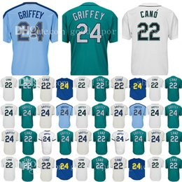 Wholesale M Logos - Seattle Men's 24 22 Robinson Cano Ken Jersey Griffey Baseball Jerseys Jr. Adult Embroidery Logos 100% Stitched
