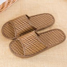 Erba dolce online-Dimensioni 37-44 Bambù foglie di erba in rattan ciabatte casa estiva, femmina pavimento morbido camera da letto pavimento in legno pantofole fresche