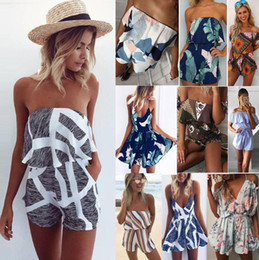 Wholesale print pieces - Women Floral Print Off Shoulder Jumpsuits Sexy Jumpsuit Falbala Romper v-neck striped Women's Jumpsuits Rompers FFA138 20PCS
