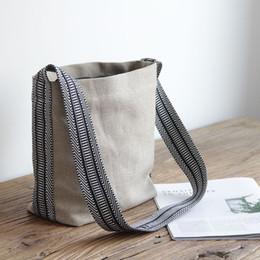 2019 linge en lin femmes coton lin sacs à bandoulière vintage cross body casual sacs petit tissu frais toile rétro message promotion linge en lin