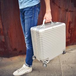 2bd9fbbaea45e 18 inç kabin bagaj alüminyum maletas de cabina bavul alüminyum seyahat  arabası alüminyum seyahat bavul