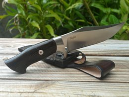 High End Bowie Blade Survival Düz Bıçak DC53 Saten Bıçak Keten Ahşap Saplı Deri Kılıf Ile Sabit Bıçak nereden